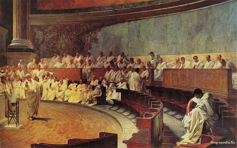 Цицерон обличает Катилину, художник - Cesare Maccari