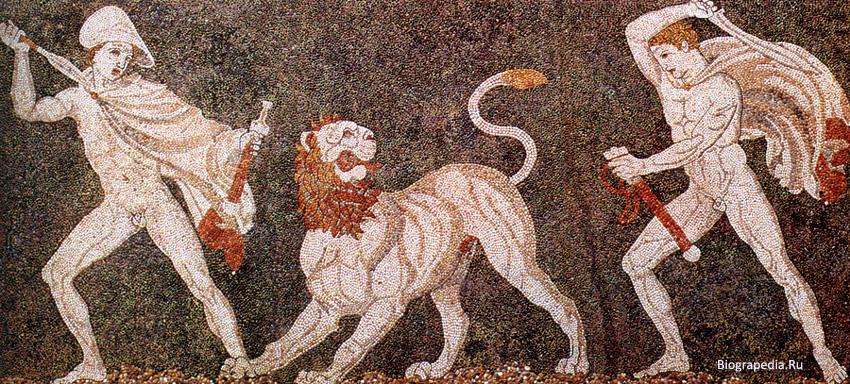 Александр и Кратер на львиной охоте. Мозаика в Пелле