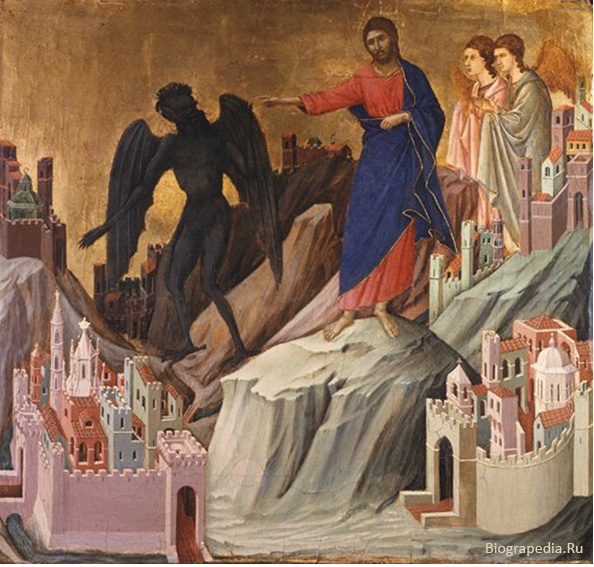 Дуччо ди Буонинснья. Искушение Христа в пустыне.
