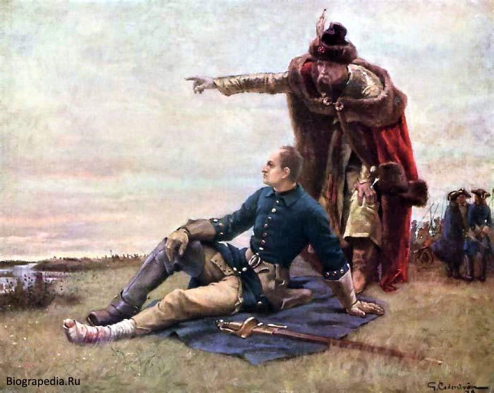 Карл XII и гетман Мазепа после Полтавской битвы, художник - Цедерстрем Густав Олаф